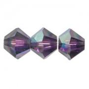 Swarovski Elements Perlen Bicones 4mm Purple Velvet AB beschichtet 50 Stück