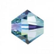 Swarovski Elements Perlen Bicones 6mm Aquamarine AB beschichtet 25 Stück