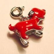 Charms Hund rot 925er Silber