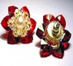 Perlenset Ohrstecker Lotusblüte Siam Crystal AB mit Süsswasserperle