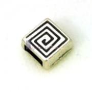 Spacer Quadrat 9x4mm für 5mm Lederband silberfarben