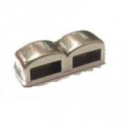 Spacer 2-fach Rechteck 16x5mm für 5mm Lederband silberfarben