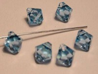 Swarovski Elements Anhänger Bicones 6mm Top drilled Aquamarine 10 Stck
