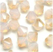 Swarovski Elements Perlen Bicones 3mm White Opal Golden Shadow 100 Stück