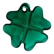 Swarovski Elements Anhänger 6764 Kleeblatt 19mm Emerald unfoiled 1 Stück