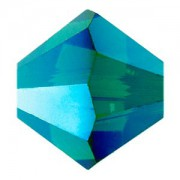 Swarovski Elements Perlen Bicones 6mm Emerald AB 2X beschichtet 50 Stück