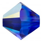 Swarovski Elements Perlen Bicones 6mm Majestic Blue AB beschichtet 25 Stück