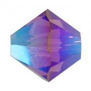 Swarovski Elements Perlen Bicones 4mm Amethyst AB2X beschichtet 100 Stück