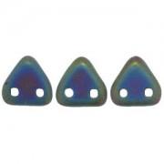 Zwei Loch Dreieckperlen 02 6mm matt rainbow Green ca 10 gr