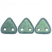 Zwei Loch Dreieckperlen 12 6mm polychrome light Green ca 10 gr