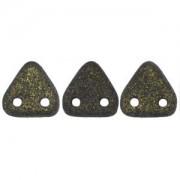 Zwei Loch Dreieckperlen 14 6mm polychrome dark Green ca 10 gr