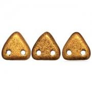 Zwei Loch Dreieckperlen 22 6mm matt metallic Goldenrod ca 10 gr