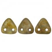 Zwei Loch Dreieckperlen 42 6mm Aquamarine Copper Picasso ca 10 gr