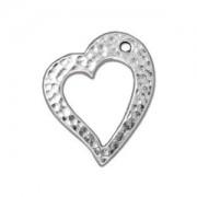 Tierracast Anhänger Hammertone Heart 22x20mm Silber 1 Stück