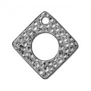 Tierracast Anhänger Hammertone Square 24mm Silber 1 Stück