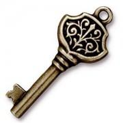 Tierracast Anhänger Victorian Key 35x15mm Altgold
