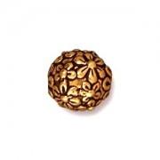 Tierracast Perle 8mm floral round 2 Stück vergoldet