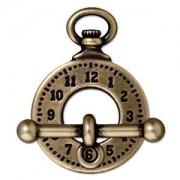 Tierracast T-Verschluss Clock 20mm Ring 25mm T-Stück altgold 1 Stück