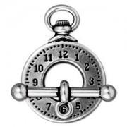 Tierracast T-Verschluss Clock 20mm Ring 25mm T-Stück silber 1 Stück