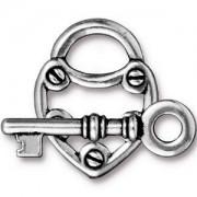 Tierracast T-Verschluss Lock and Key 20mm Ring 30mm T-Stück silber 1 Stück