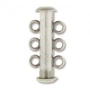 Rohrsteckverschluss 21mm 3-strängig Antique Silver plated 1 Stück