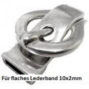 Magnetverschluss Gürtelschnalle 42x25mm für 10x2mm Lederband Silber