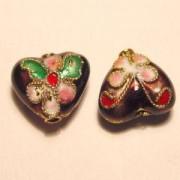 Cloisonne-Beads Herz 10mm burgund
