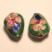 Cloisonne-Beads Tropfen 13x10mm dunkelgrün