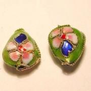 Cloisonne-Beads Tropfen 13x10mm hellgrün