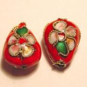 Cloisonne-Beads Tropfen 13x10mm rot