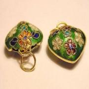 Cloisonne-Beads Herzanhänger 18mmgrün