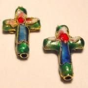 Cloisonne-Beads Kreuz 18x13mm dunkelgrün