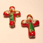Cloisonne-Beads Kreuz 18x13mm rot