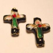 Cloisonne-Beads Kreuz 18x13mm schwarz