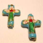 Cloisonne-Beads Kreuz 18x13mm türkis
