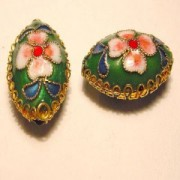 Cloisonne-Beads Oval 19x13mm dunkelgrün