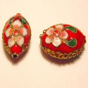 Cloisonne-Beads Oval 19x13mm rot