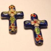 Cloisonne-Beads Kreuz 27x18mm blau