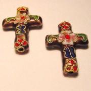Cloisonne-Beads Kreuz 27x18mm burgund