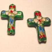 Cloisonne-Beads Kreuz 27x18mm dunkelgrün