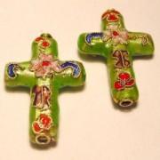 Cloisonne-Beads Kreuz 18x13mm hellgrün