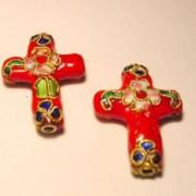 Cloisonne-Beads Kreuz 27x18mm rot
