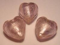 Glasperlen silverfoiled Herz 20x20mm rose 10 Stück