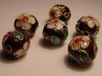 Cloisonne-Beads Burgund verziert 10mm