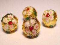 Cloisonne-Beads gold verziert 10mm