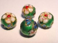 Cloisonne-Beadsgrün verziert 10mm