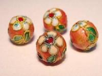 Cloisonne-Beads rosa verziert 10mm