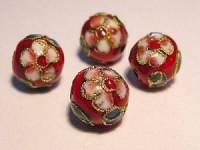 Cloisonne-Beads rot verziert 10mm