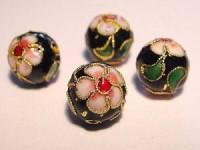 Cloisonne-Beads schwarz verziert 10mm