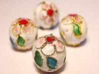 Cloisonne-Beads weiß verziert 10mm